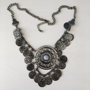 Silver Statement Coin Necklace